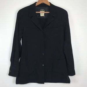 Vintage Chanel Black Wool Button Up Blouse